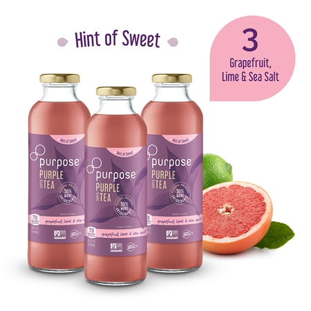 Hint of Sweet Grapefruit Lime & Sea Salt Purple Tea, 16 oz (3 Pack)