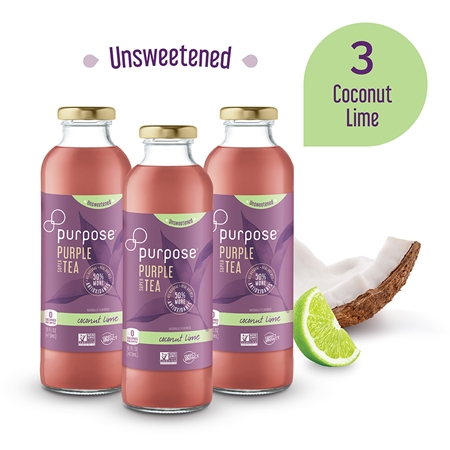 Unsweetened Coconut Lime Purple Tea, 16 oz (3 Pack)